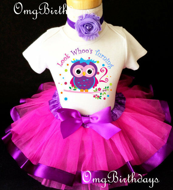 Pink Purple Owl Look Whoos Second 2nd Birthday Shirt Tutu