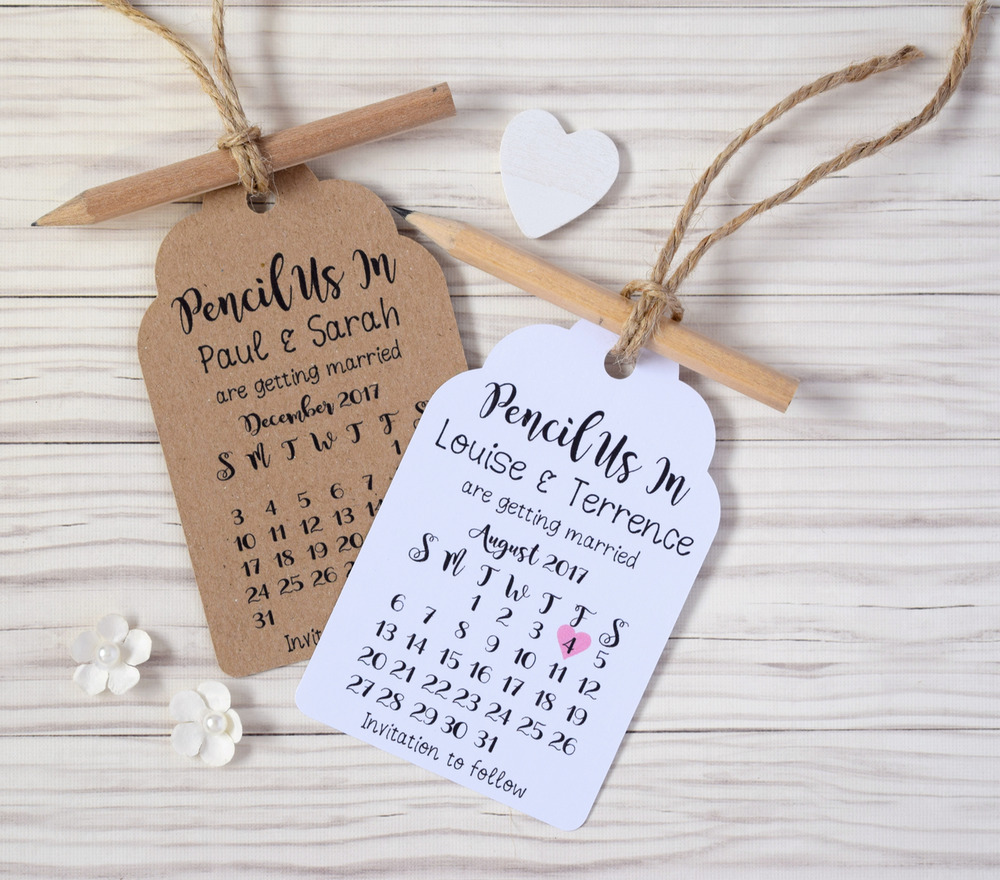 Pencil Us In Rustic Calendar Save The Date Tags Cards