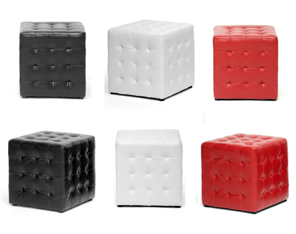 Faux Leather Cube Ottoman Set 2 Modern Square Foot Rest