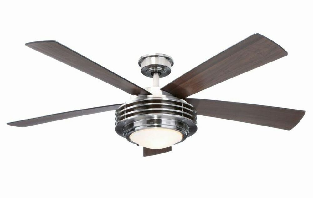 "Hampton Bay Mondrian 52"" Brushed Nickel Ceiling Fan With"