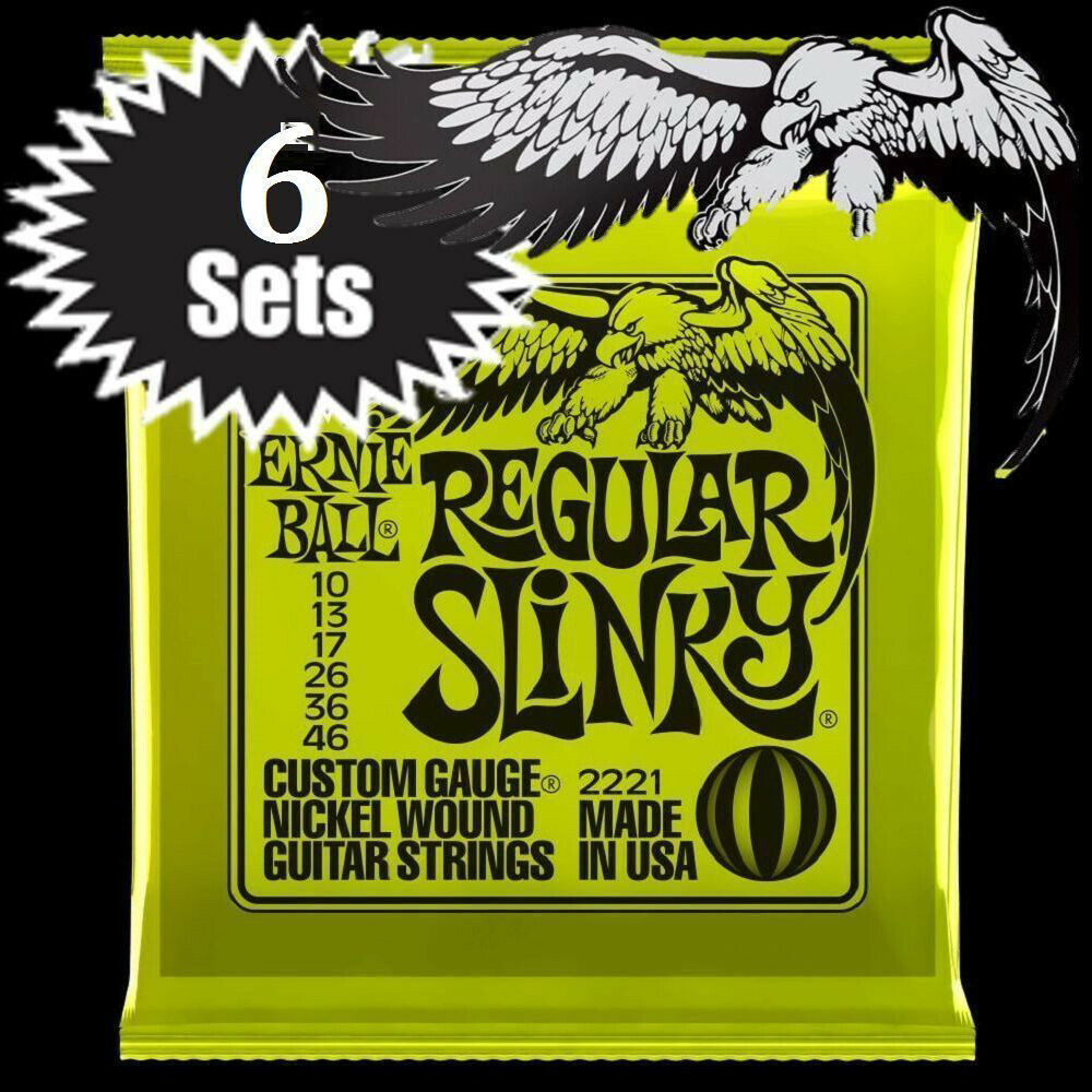 ernie ball regular slinky nickel wound electric guitar strings 10 46 2221 6 sets ebay. Black Bedroom Furniture Sets. Home Design Ideas