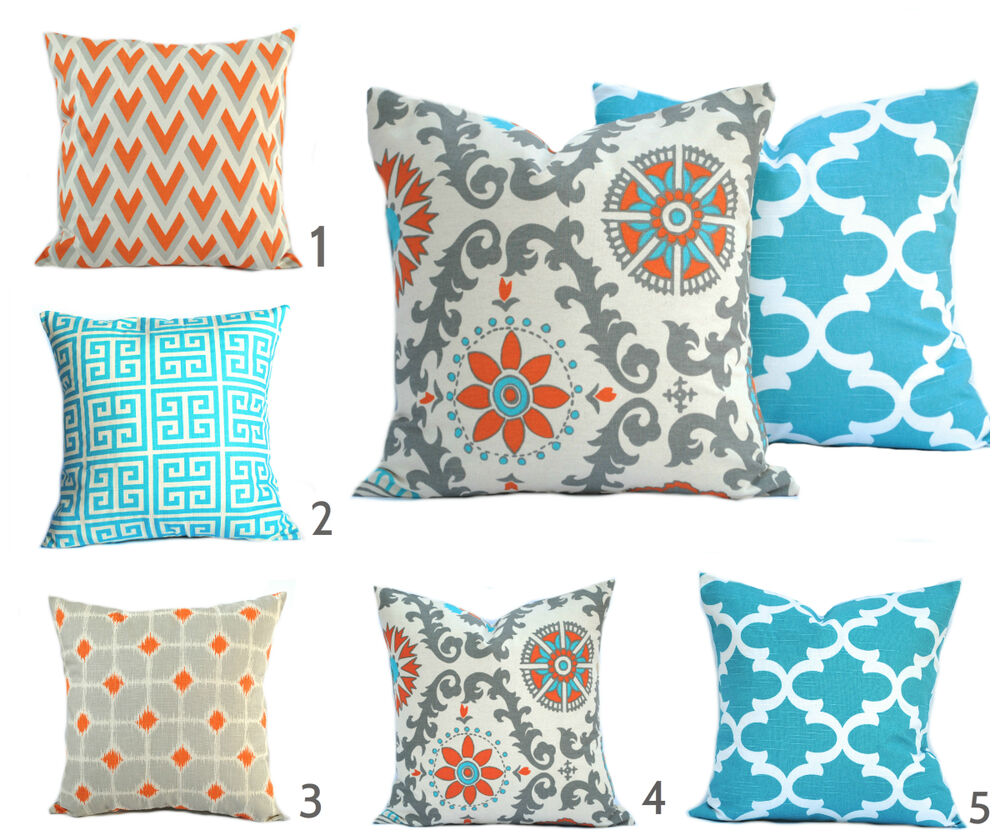 1 pillow cover throw pillow decorative pillow orange pillow turquoise pillow ebay. Black Bedroom Furniture Sets. Home Design Ideas