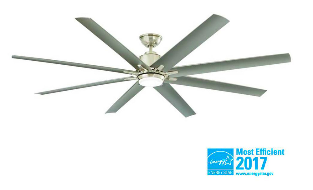 "72"" Brushed Nickel Indoor LED Ceiling Fan with Light & Remote Control ..."