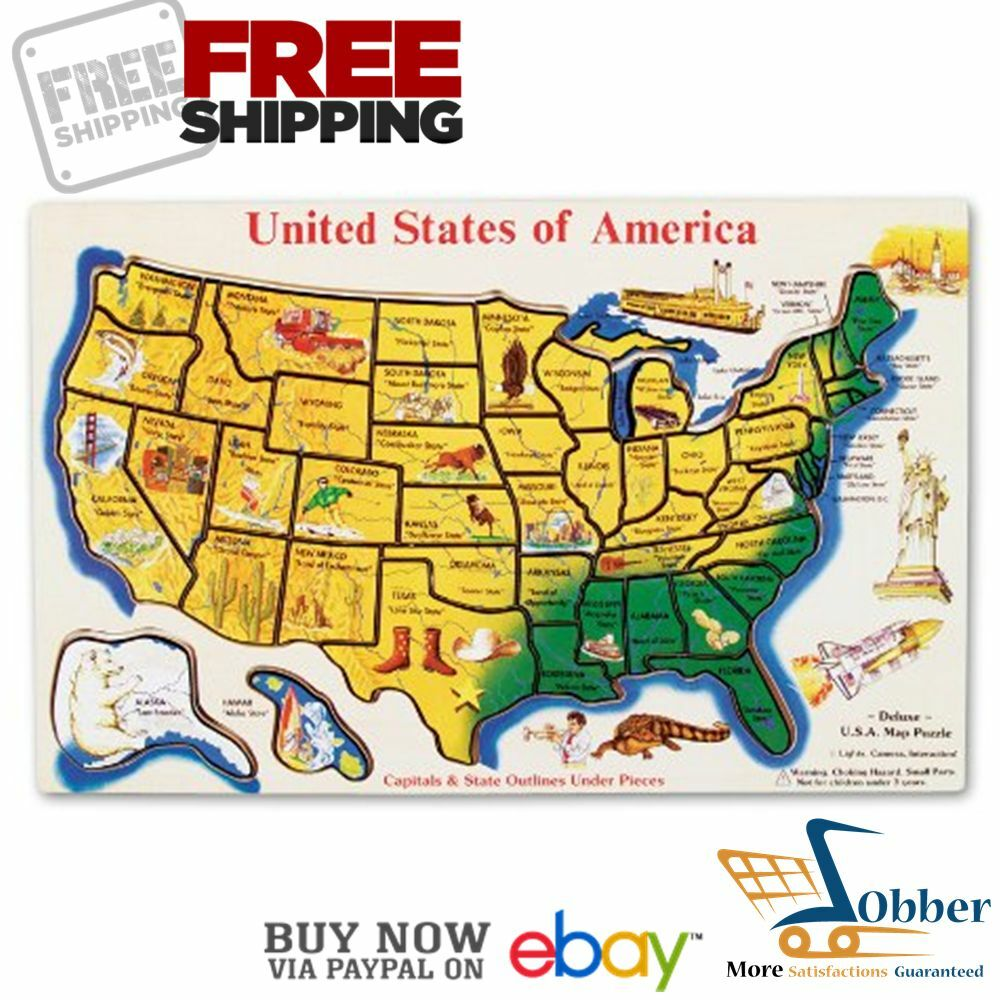 Puzzles Games: Melissa Doug US Map Puzzles Games Jigsaw Wooden 12x18 In