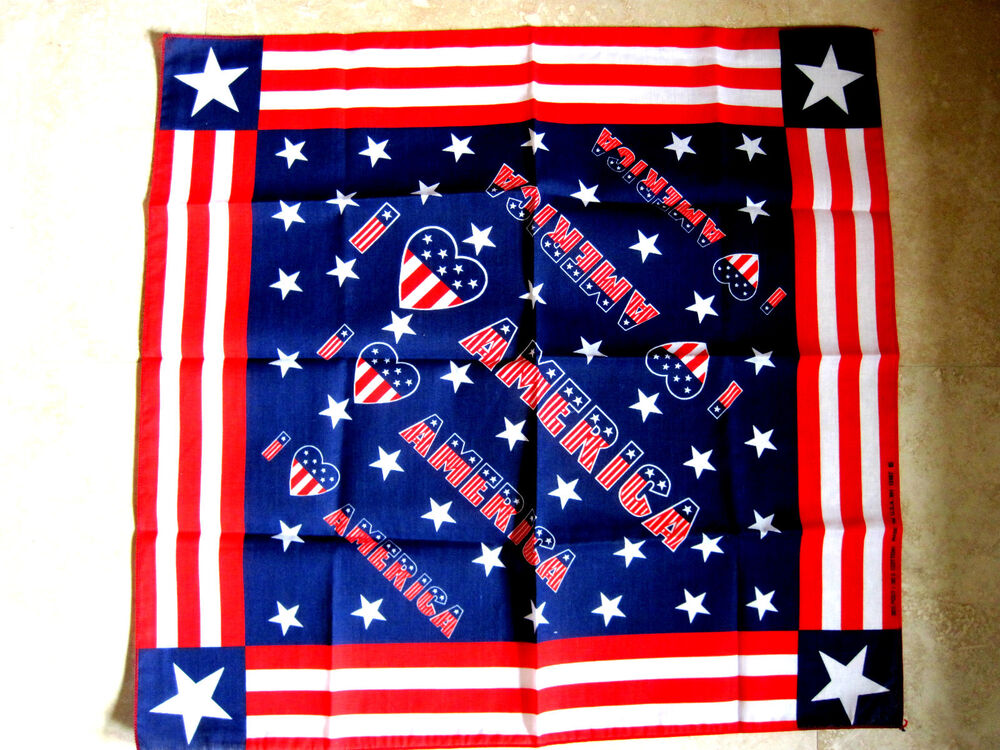 3dbaa73328 Details about New I Love America Red White Blue Stars   Stripes Patriotic  Scarf Bandanna Durag