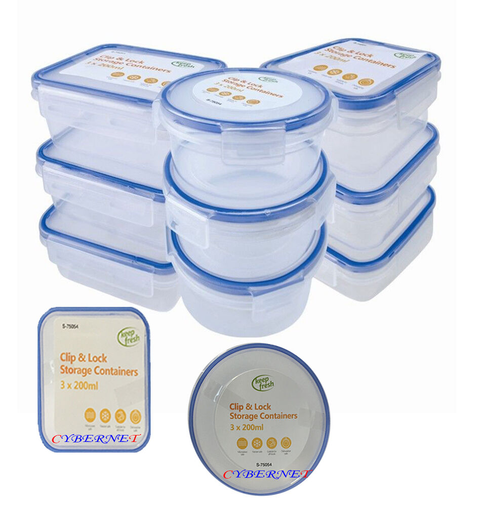 new 9 x clip lock lids containers storage plastic boxes. Black Bedroom Furniture Sets. Home Design Ideas