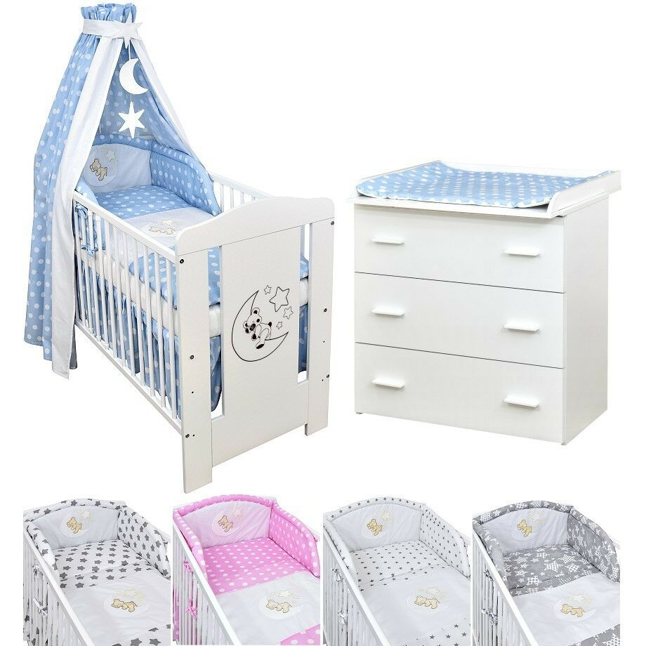 babyzimmer babybett kinderbett mond teddy wickelkommode wei bettset komplett ebay. Black Bedroom Furniture Sets. Home Design Ideas