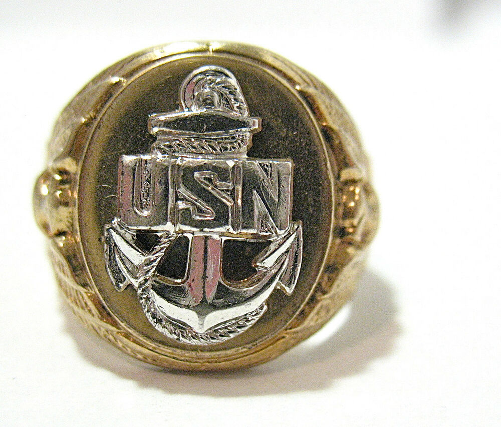 12k gold filled sterling silver us navy ring band size 6 9