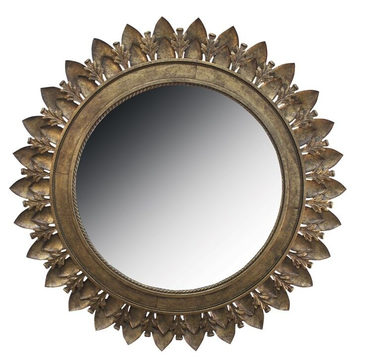 Metal Leaf Medallion Mirror With Antique Gold Finish By