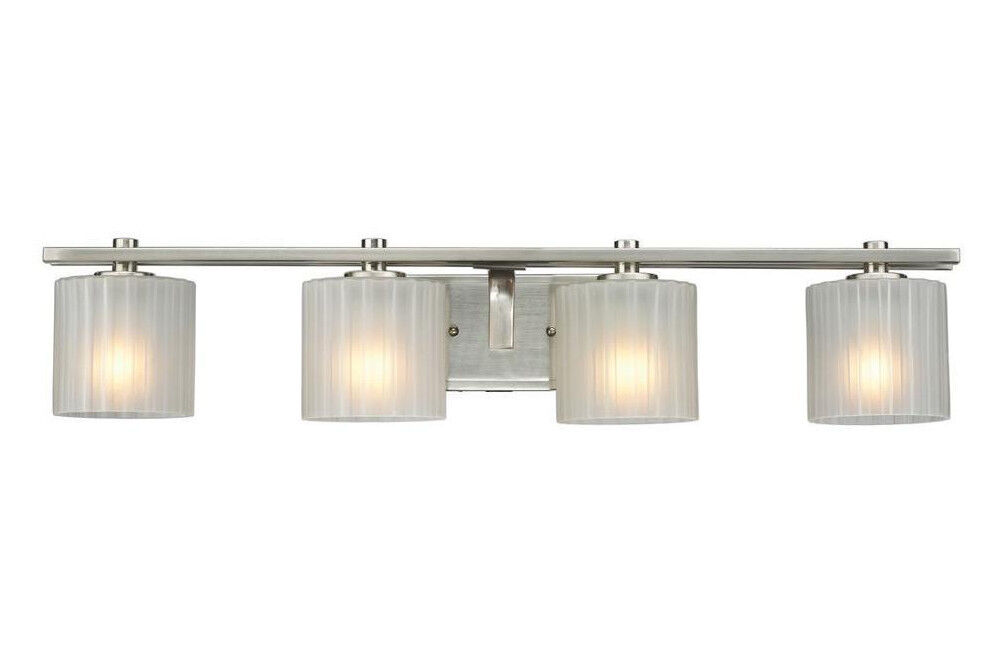 Hampton bay sheldon 4 light brushed nickel bath bar light for 6 light bathroom vanity light