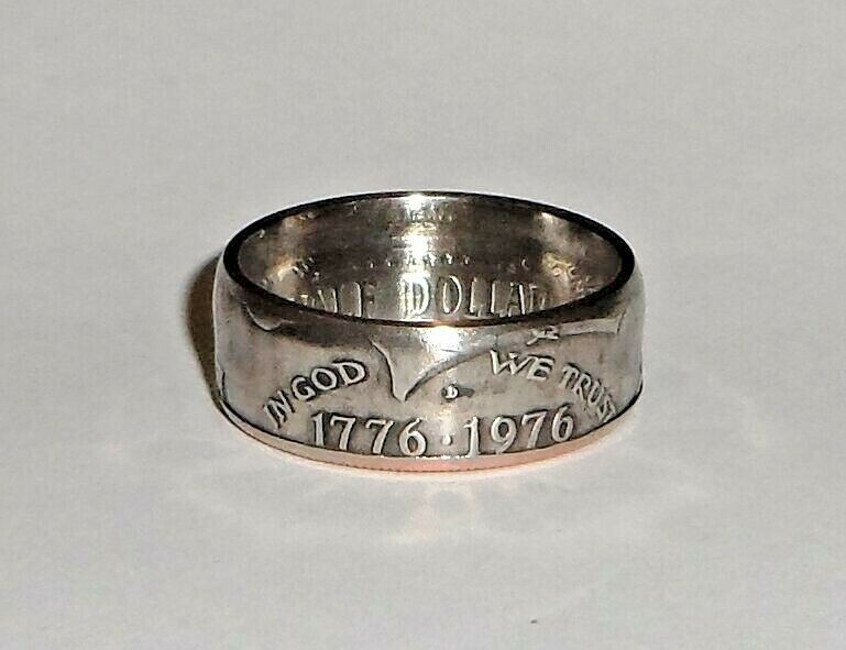 Coin ring made from 1976 KENNEDY BICENTENNIAL US HALF DOLLAR sizes 9 14