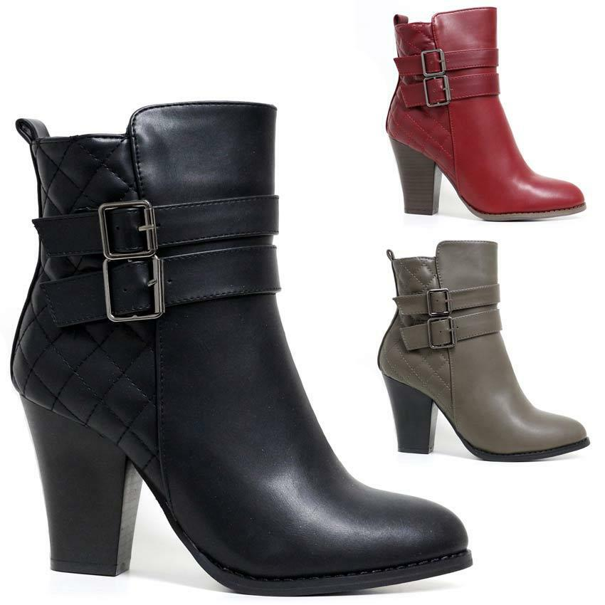 Ladies Womens Mid Block Heel Zip Up Military Combat Ankle ...