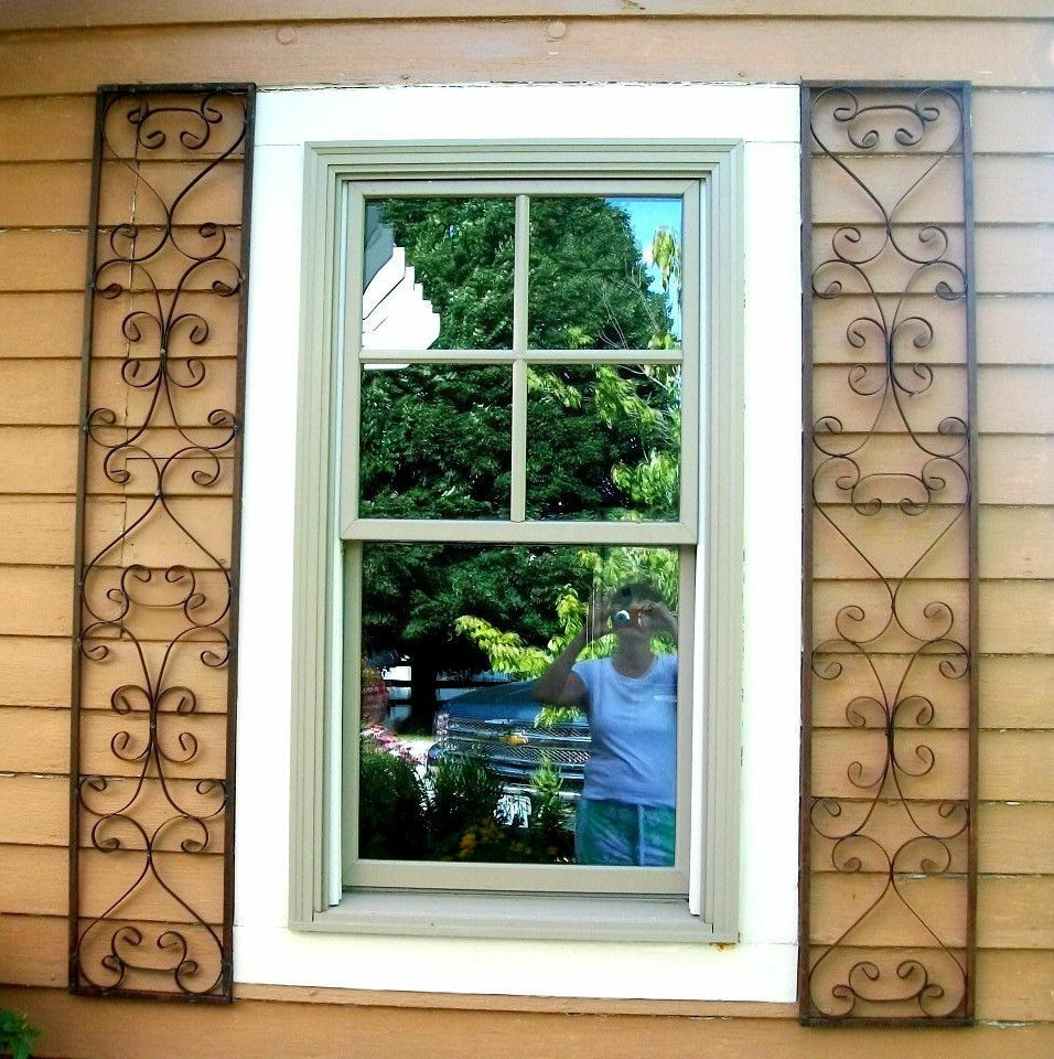 New orleans wrought iron exterior window shutters metal - Decorative window shutters exterior ...