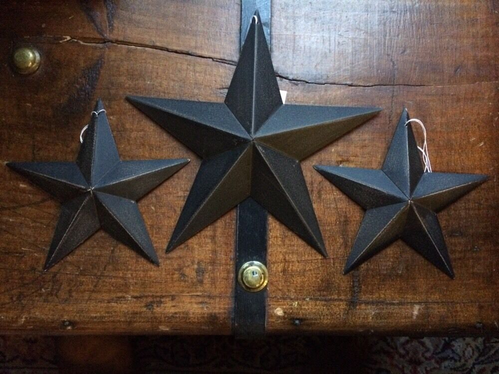 Set of 3 black barn stars 8 5 5 primitive rustic for Barn star decorations home