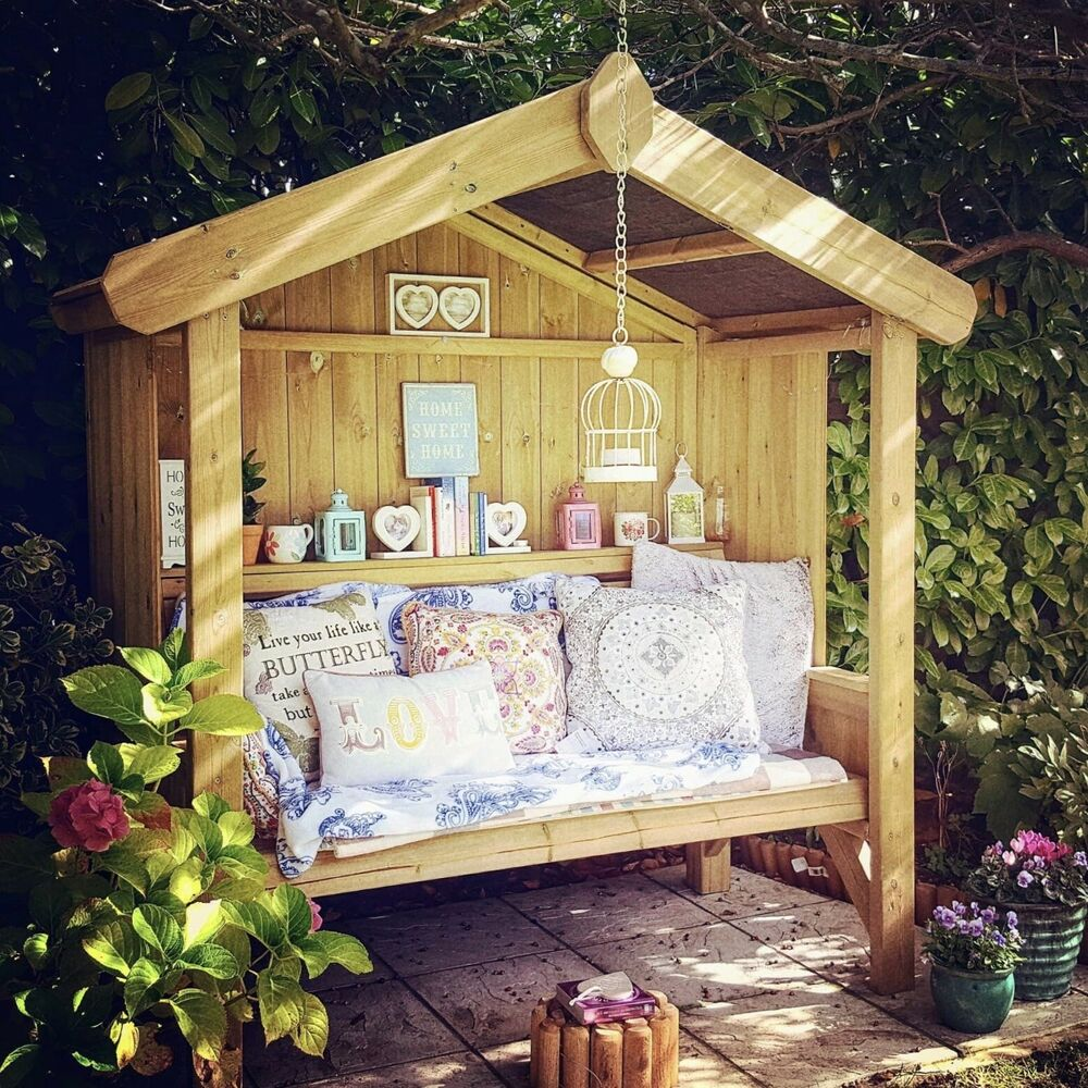 Solid 3 Seater Garden Arbour Tanalised Outdoor Bench