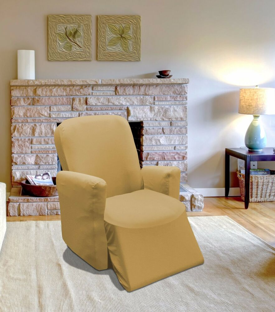 Tan Jersey Stretch Slipcover Couch Cover Chair Loveseat