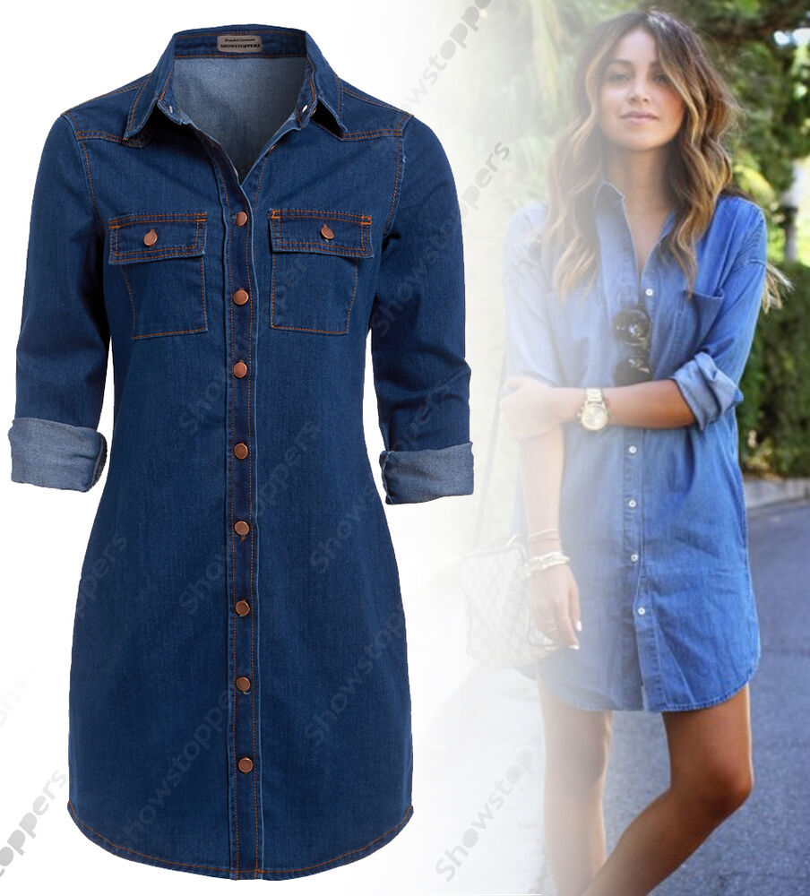 New womens longline denim shirt dress ladies jean dresses for Blue denim shirt for womens
