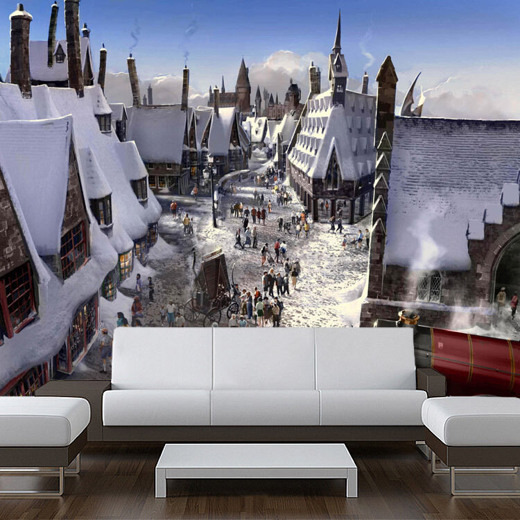 Wall Removable Sticker Winter Wizards Town Harry Potter
