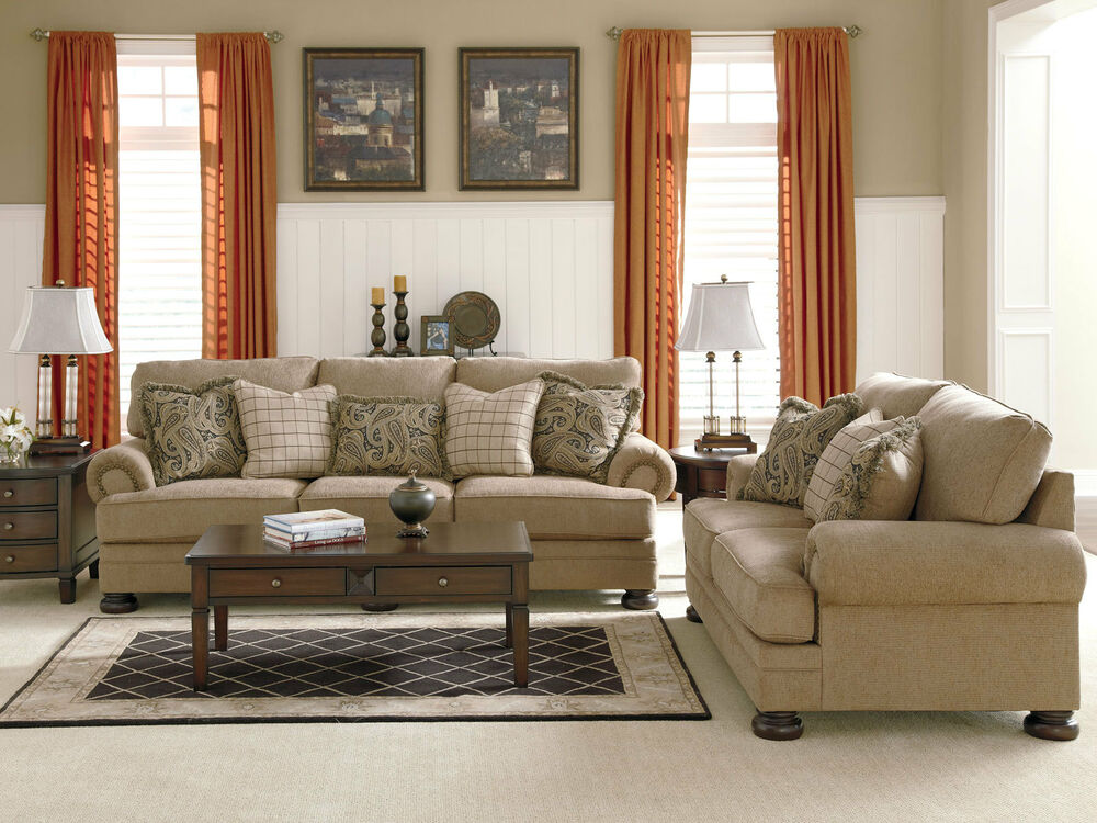 JOYCE TRADITIONAL TAN OVERSIZED CHENILLE SOFA COUCH SET LIVING ROOM FURNITU