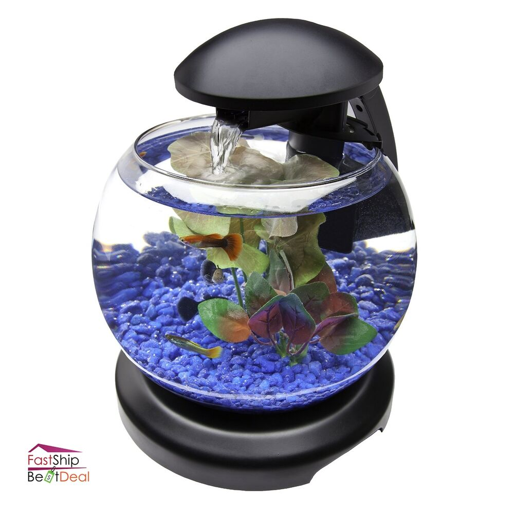 Aquarium starter kit fish tank waterfall 1 8 gallon led for Filtre aquarium rond