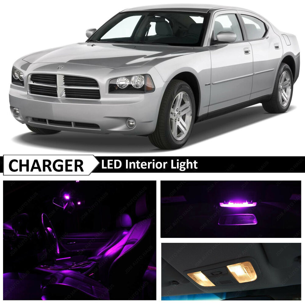 10x purple led interior light package kit for 2006 2010 dodge charger ebay. Black Bedroom Furniture Sets. Home Design Ideas