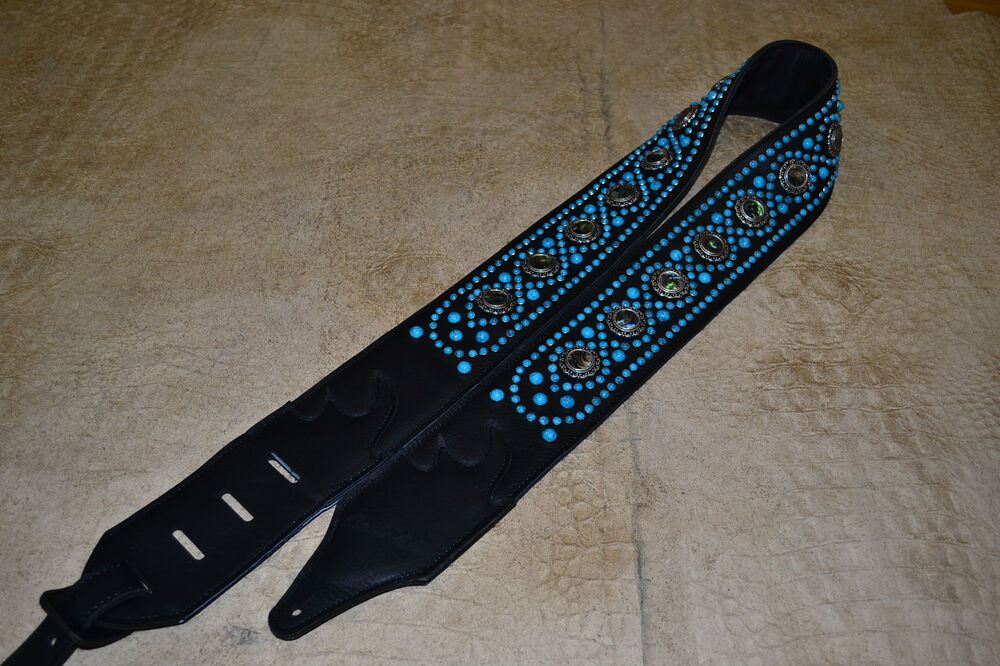 carlino paul stanley style studded black leather guitar strap turquoise studs ebay. Black Bedroom Furniture Sets. Home Design Ideas