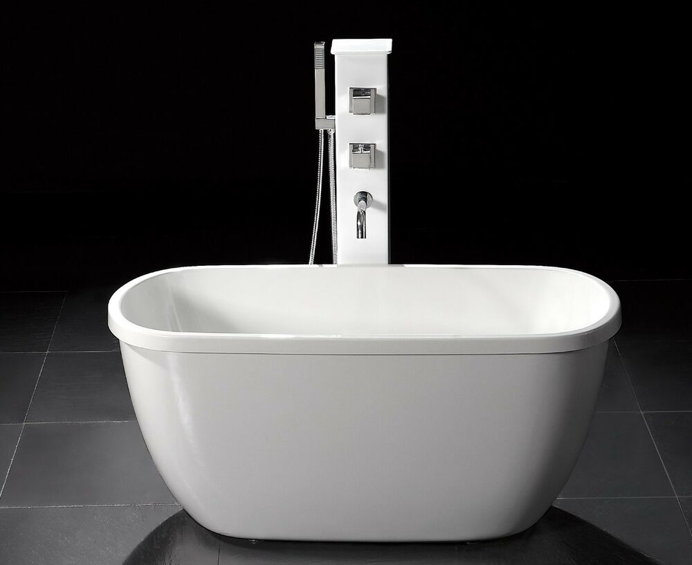 55 small acrylic modern free standing bathtub faucet for Small bathroom tub