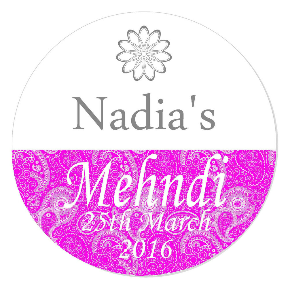 Details about personalised gloss mehndi indian wedding engagement stickers paisley henna x 24
