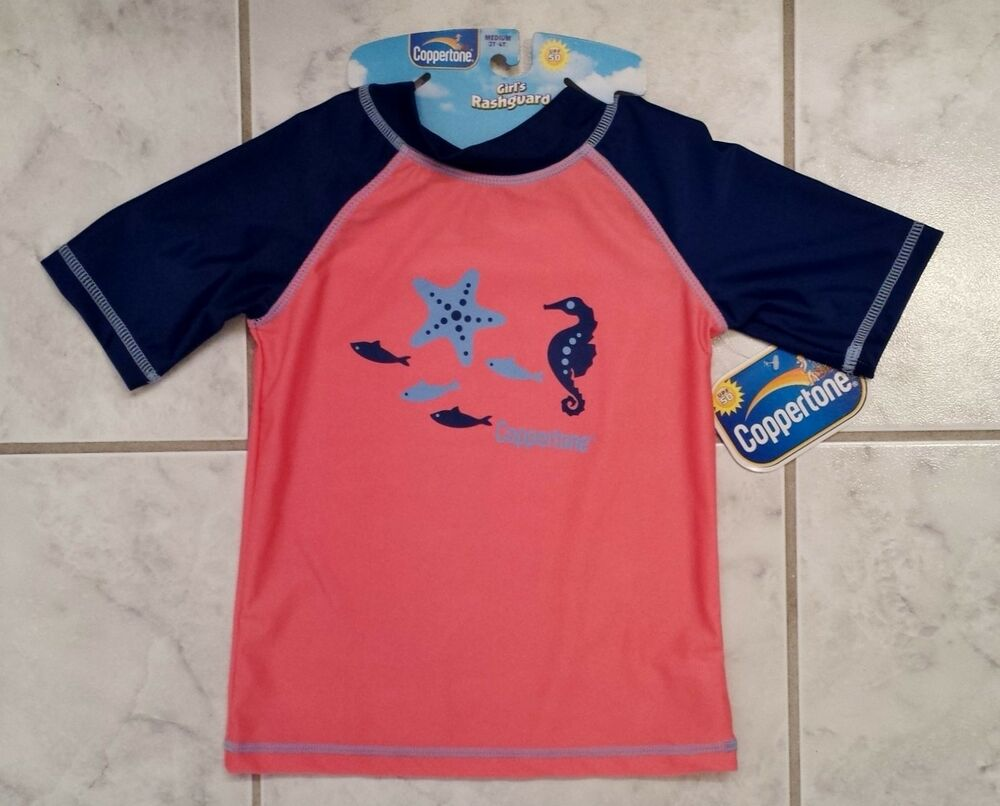 Coppertone pink and blue toddler girl 39 s medium 2t 4t for Baby rash guard shirt