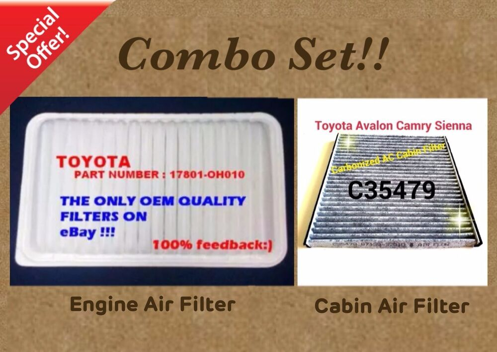 engine filter cabin air filter combo set for camry sienna carbonized us seller ebay. Black Bedroom Furniture Sets. Home Design Ideas