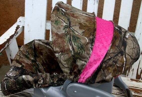 Realtree Camo And Hot Pink Minky Infant Car Seat Cover And
