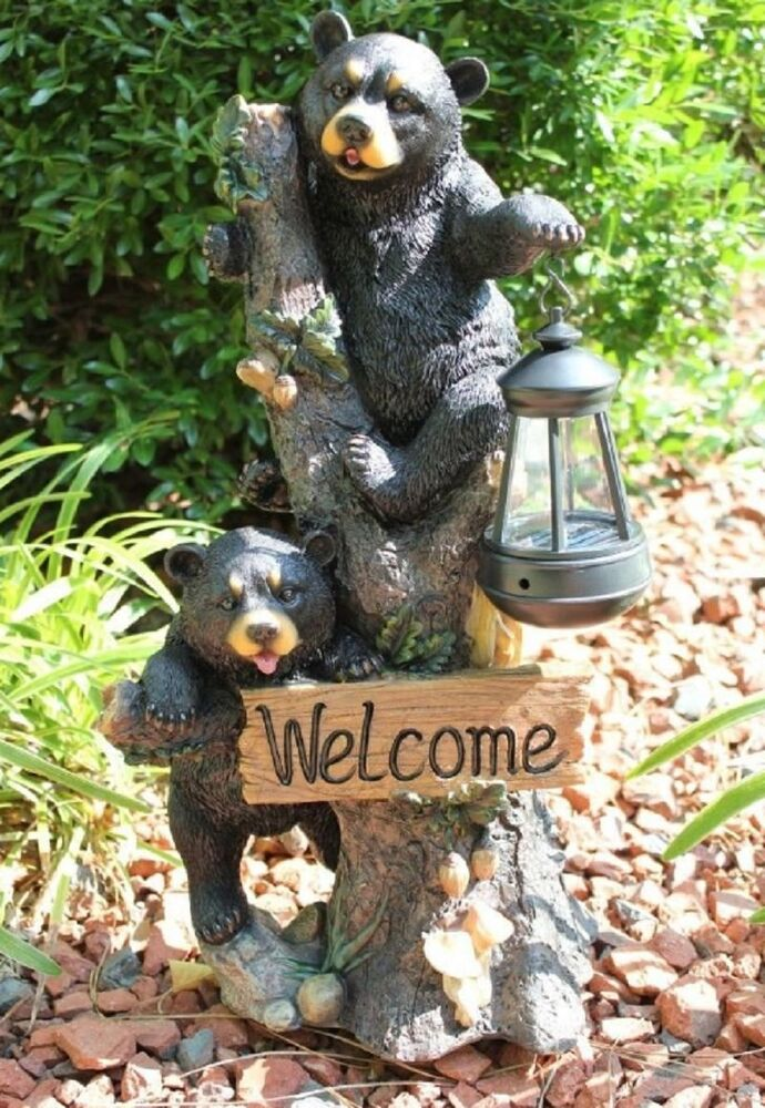 Bear welcome solar statue home garden decor figure light for Lawn and garden decorative accessories