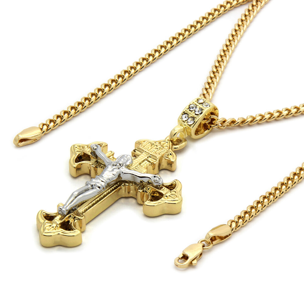 mens 14k gold plated jesus inri cross pendant 30quot inches