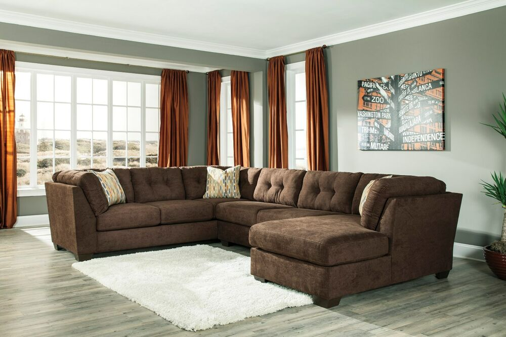Ashley delta city 3 piece chocolate sectional w chaise - Ashley furniture 14 piece living room sale ...