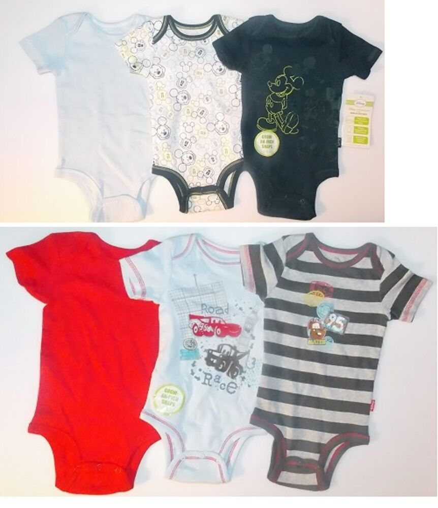 341d63eff Disney Mickey Mouse or Cars Infant Boys 3 Pack Bodysuits Sizes 6M or ...