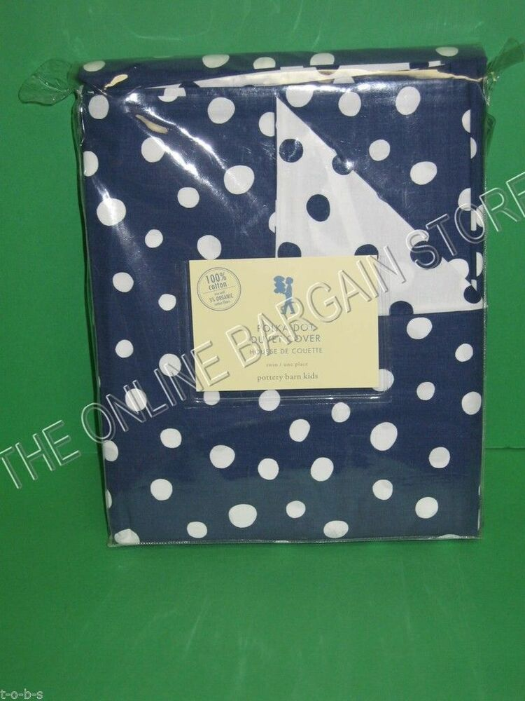 pottery barn kids pb teen polka dot duvet cover full queen f q reversible navy ebay. Black Bedroom Furniture Sets. Home Design Ideas