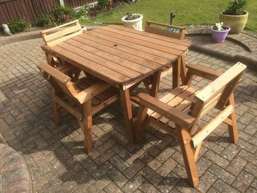 New Style Solid Wood Garden Patio Furniture Set 4 39 6