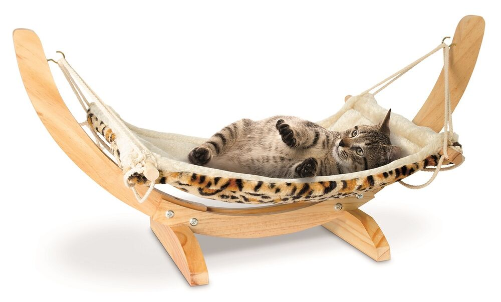 Deluxe Pet Cat Hammock Wooden Fleece Bed Animal Hanging
