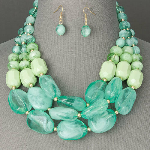 Gold Accents Mint Green Stone Like Layered Statement