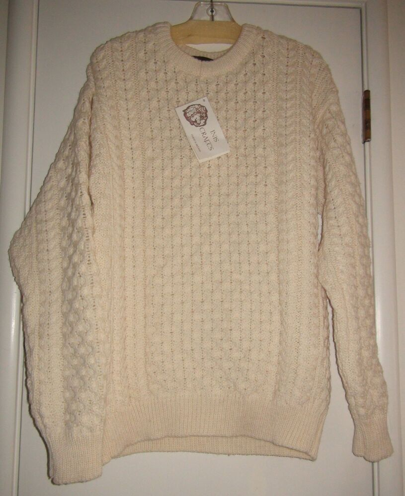 Inis crafts aran pullover 100 wool sweater cream nwt made for Aran crafts fisherman sweater