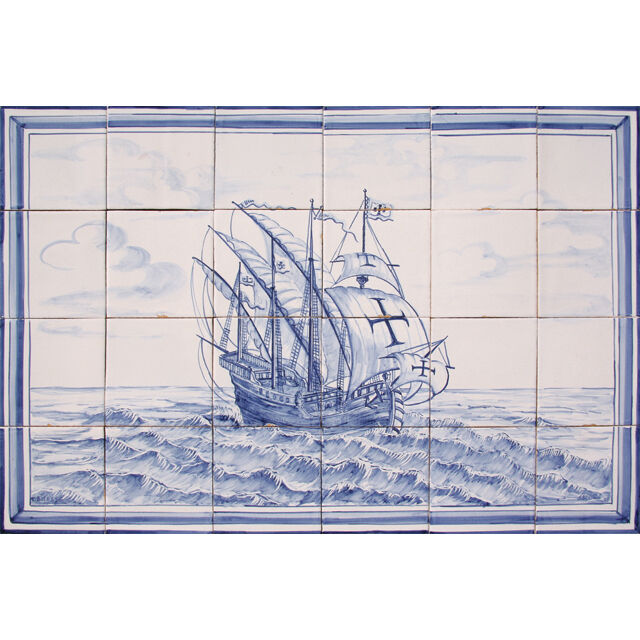Portuguese Painted Clay Azulejos Tiles Mural Panel Blue
