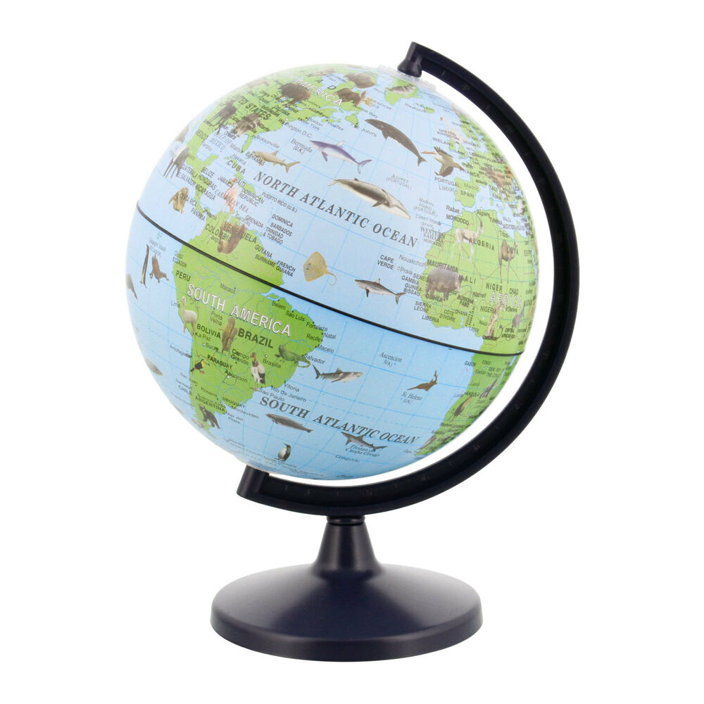 5 6 inch animals of the world wildlife desktop world earth globe ebay - Globe main office address ...