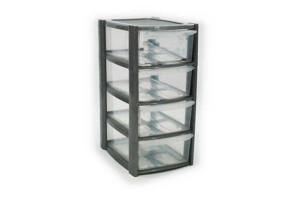 4 DRAWER SILVER TOWER UNIT PLASTIC STORAGE DRAWERS