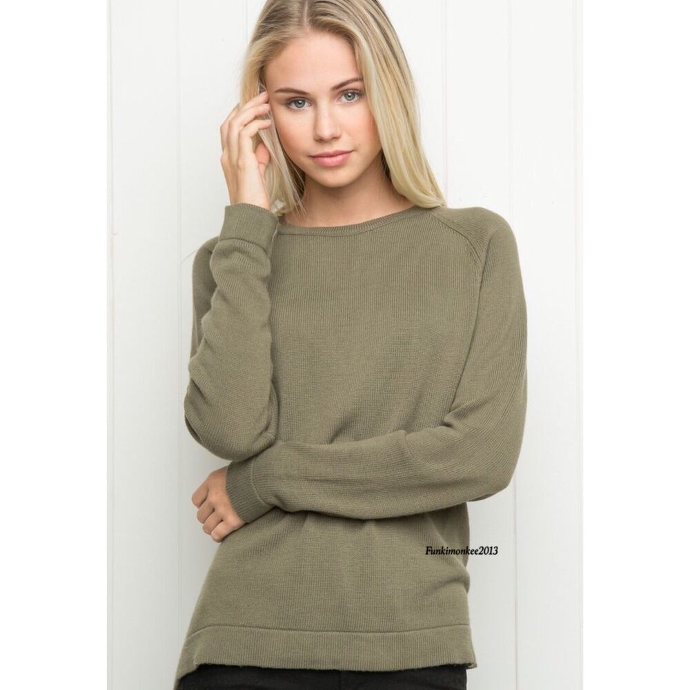 Last One Brandy Melville Olive Green Raglan Sleeve Ribbed