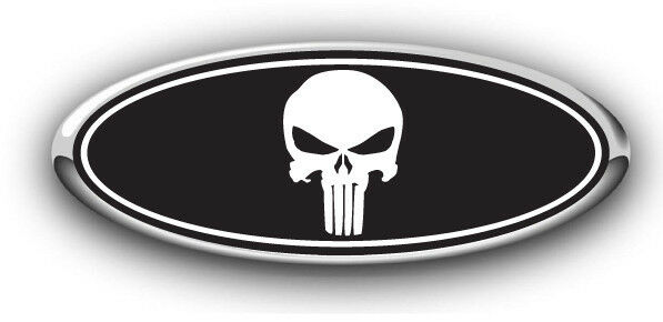 Ford F150 2014 Overlay Emblem Decal Punisher Black White