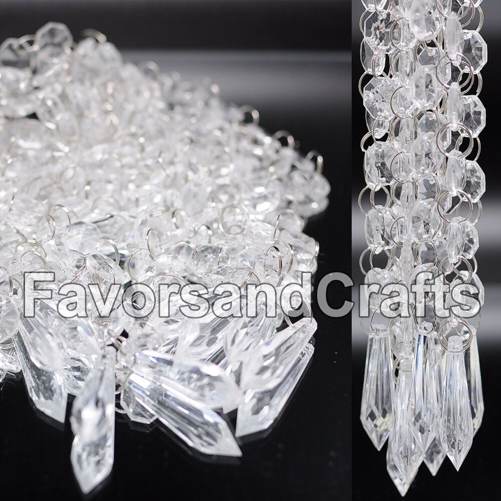 12 wedding acrylic garland strands diamond crystal bead for Acrylic decoration