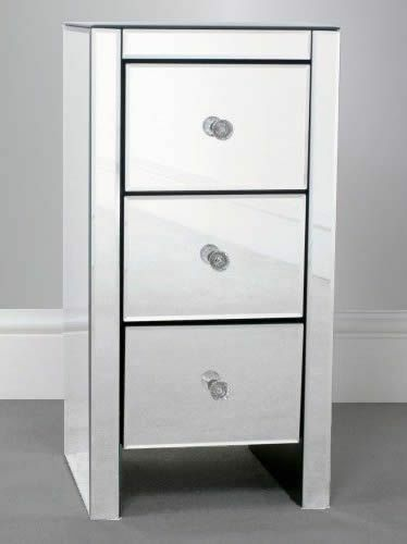 Mirrored Bedside Table With Drawers: New Chic Furniture Small 3 Drawer Mirrored Bedside Table