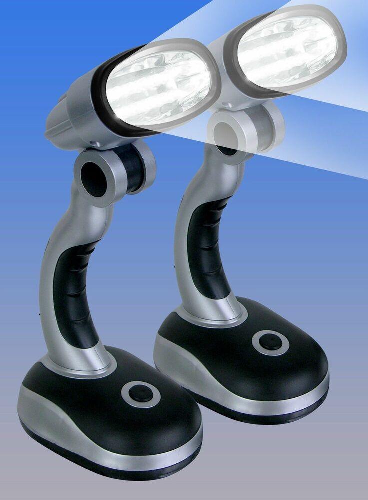 2 cordless electric portable led desk lamps light 12 bright garage car emergency ebay. Black Bedroom Furniture Sets. Home Design Ideas