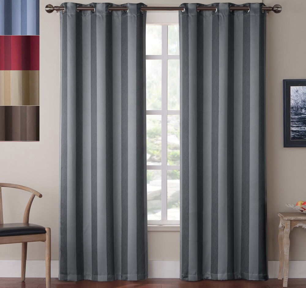 Blackout Striped Window Curtains 84 Inch Grommet Drape
