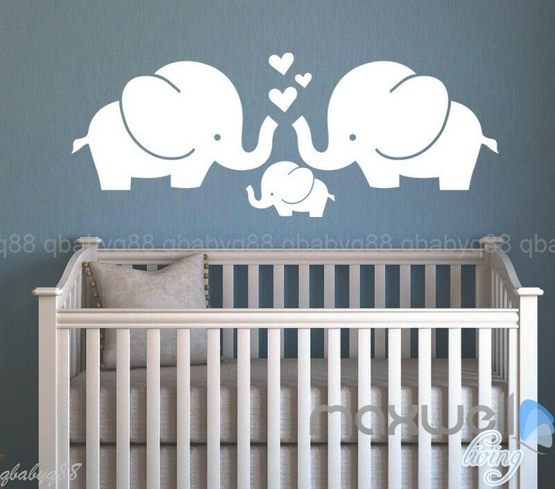 Elephant family love heart wall sticker decals vinyl for Elephant mural nursery